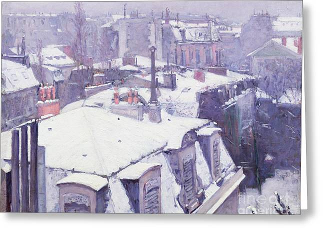 Impressionist Greeting Cards - Roofs under Snow Greeting Card by Gustave Caillebotte