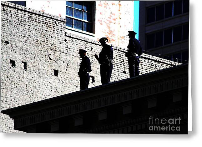 Police Officer Greeting Cards - Rooftop Cops Greeting Card by Wingsdomain Art and Photography