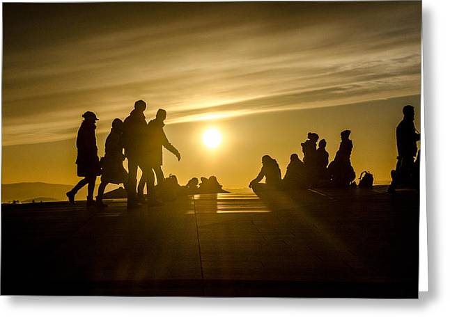 Rooftop Sunset Greeting Card by Kathleen Alhaug