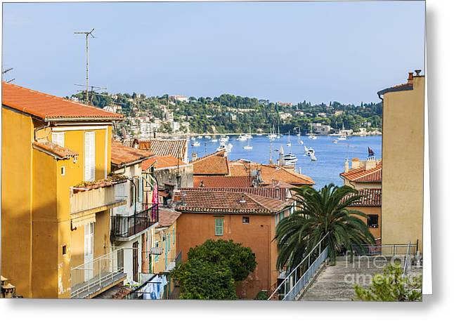 Southern Europe Greeting Cards - Rooftops in Villefranche-sur-Mer Greeting Card by Elena Elisseeva