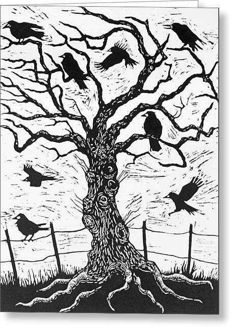 Rook Tree Greeting Card by Nat Morley