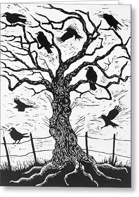 Roots Drawings Greeting Cards - Rook Tree Greeting Card by Nat Morley
