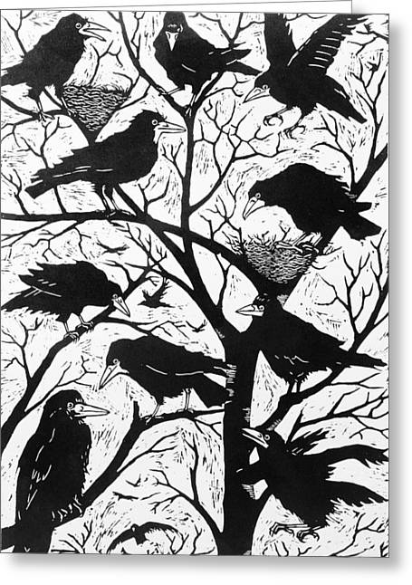 Flock Of Bird Greeting Cards - Rooks Greeting Card by Nat Morley