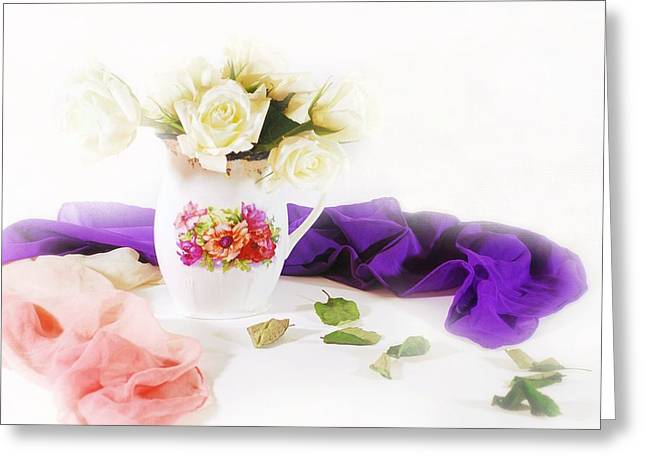 Silk Scarf Greeting Cards - Room for Roses Greeting Card by Diana Angstadt