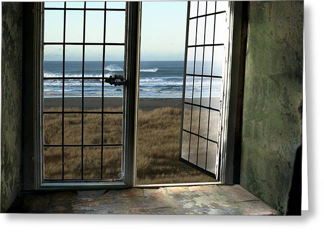 Looking Out The Window Greeting Cards - Room for Two and a Ocean Breeze Greeting Card by Beverly Guilliams