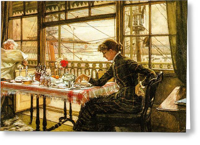 1876 Digital Greeting Cards - Room Overlooking the Harbour 1876  Greeting Card by Jacques Joseph Tissot