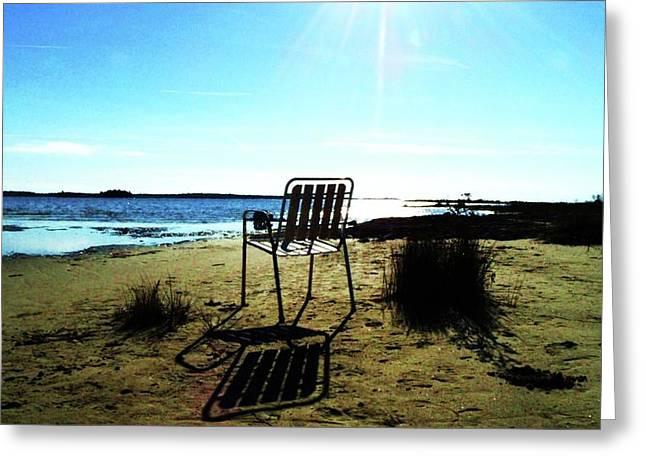 Lawn Chair Greeting Cards - Room with a View Greeting Card by Cyryn Fyrcyd