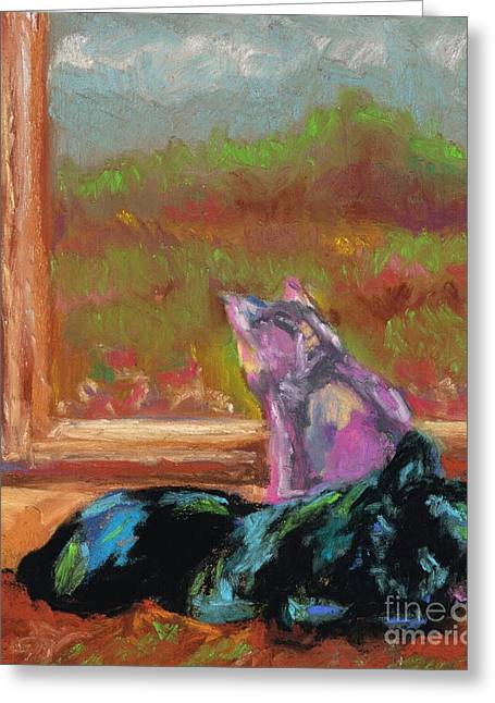 Feline Pastels Greeting Cards - Room With A View Greeting Card by Frances Marino