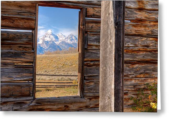 Log Cabins Greeting Cards - Room With A View Greeting Card by Kristina Rinell