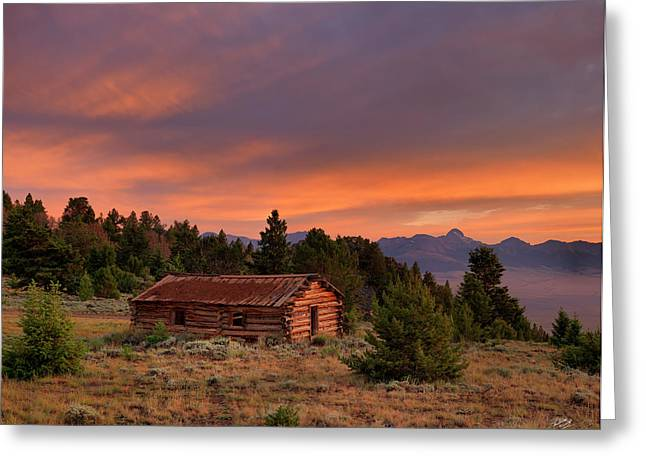 Old Wood Cabin Greeting Cards - Room With a View Greeting Card by Leland D Howard