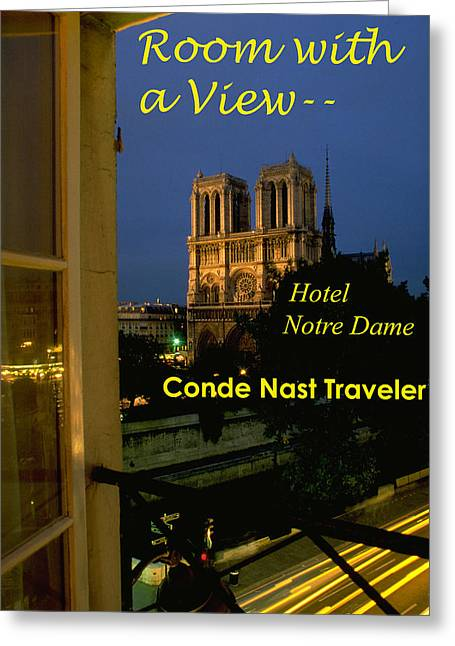 Nast Greeting Cards - Room with a View of Notre Dame Greeting Card by Carl Purcell