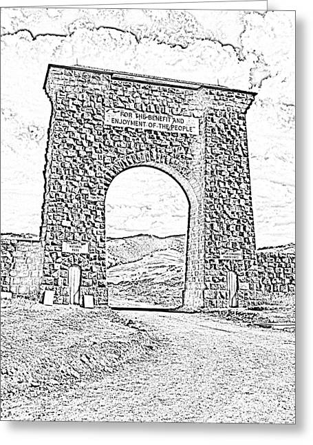 Photocopy Greeting Cards - Roosevelt Arch 1903 Gate Old Time Dirt Road Yellowstone National Park BW Sketch Digital Art Greeting Card by Shawn O
