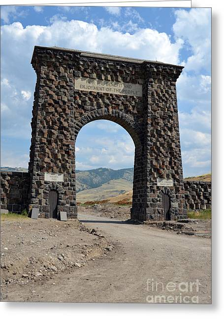 Yellowstone National Park Greeting Cards - Roosevelt Arch 1903 Gate Old Time Dirt Road Yellowstone National Park Greeting Card by Shawn O