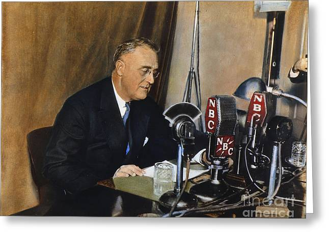 Franklin Greeting Cards - Roosevelt: Fireside Chat Greeting Card by Granger