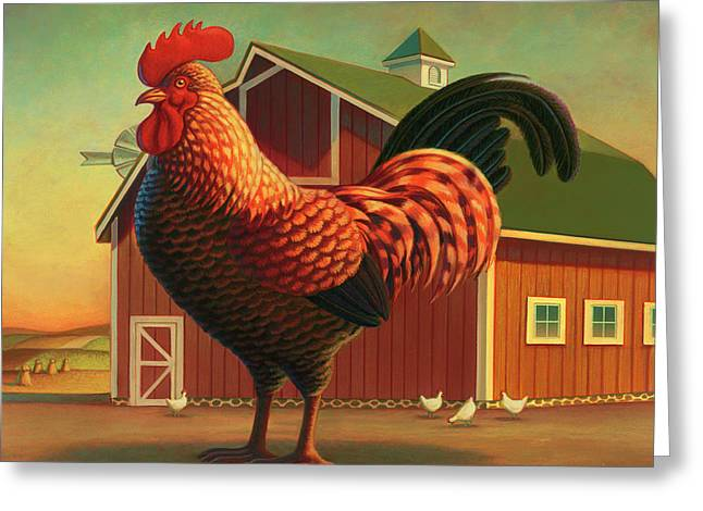 Rooster And The Barn Greeting Card by Robin Moline