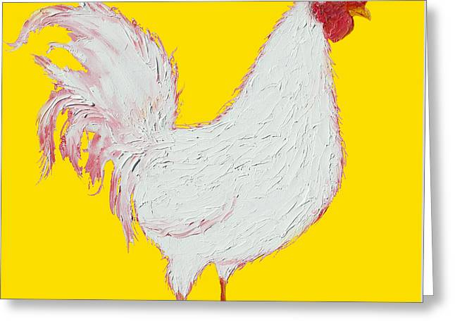 Rooster Kitchen Art Greeting Cards - Rooster Art on yellow background Greeting Card by Jan Matson