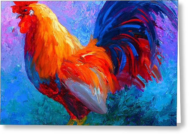 Rooster Bob Greeting Card by Marion Rose