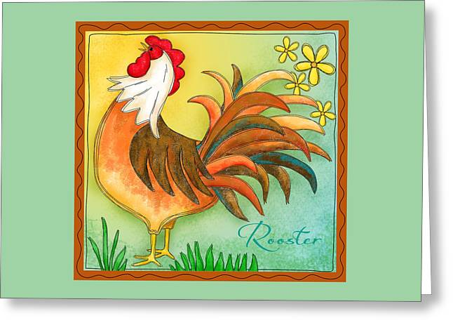 Bright Color Rooster Greeting Cards - Rooster Crow Greeting Card by Phyllis Dobbs