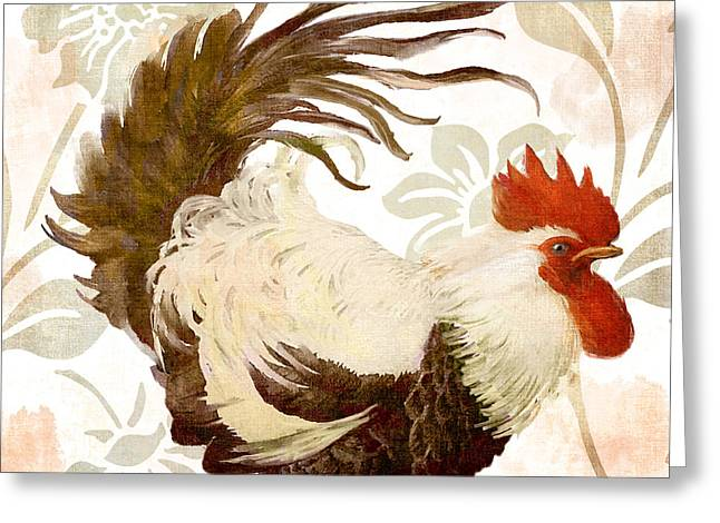 Rooster Damask Light Greeting Card by Mindy Sommers