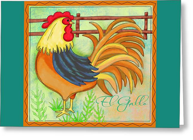 Bright Color Rooster Greeting Cards - Rooster El Gallo Greeting Card by Phyllis Dobbs