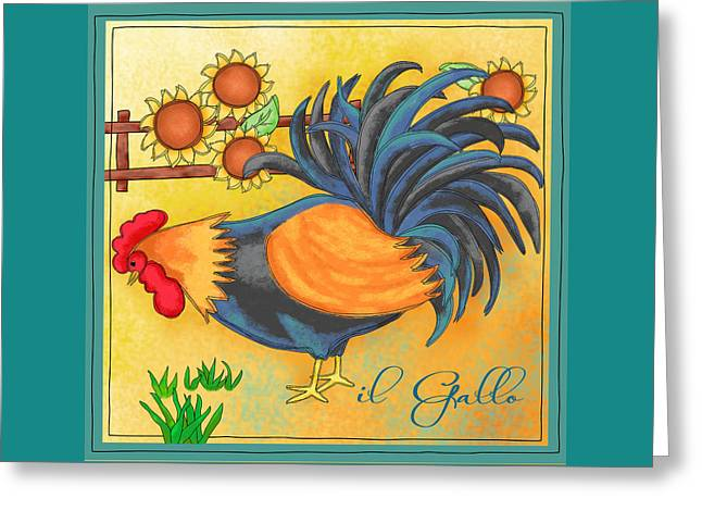 Bright Color Rooster Greeting Cards - Rooster Il Gallo Greeting Card by Phyllis Dobbs