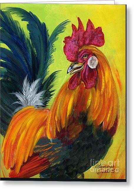 Summer Celeste Greeting Cards - Rooster Kary Greeting Card by Summer Celeste