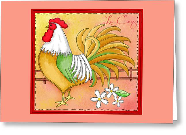 Bright Color Rooster Greeting Cards - Rooster Le Coq Greeting Card by Phyllis Dobbs
