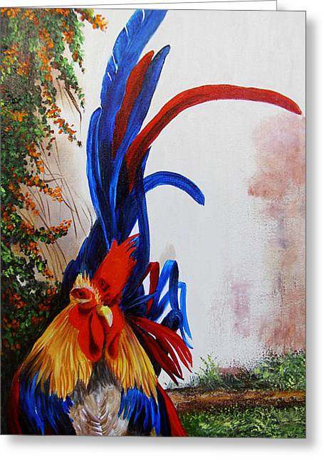 Dominica Alcantara Greeting Cards - Rooster Looking for Love Greeting Card by Dominica Alcantara