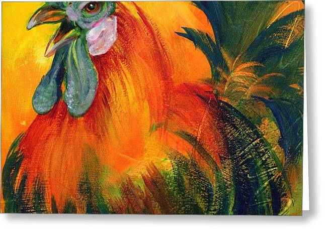 Rooster of Another Color Greeting Card by Summer Celeste