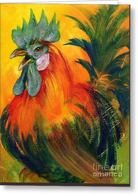 Bright Color Rooster Greeting Cards - Rooster of Another Color Greeting Card by Summer Celeste