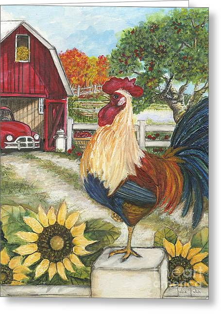 Barn Door Greeting Cards - Rooster on the Apple Farm Greeting Card by Julie Futch