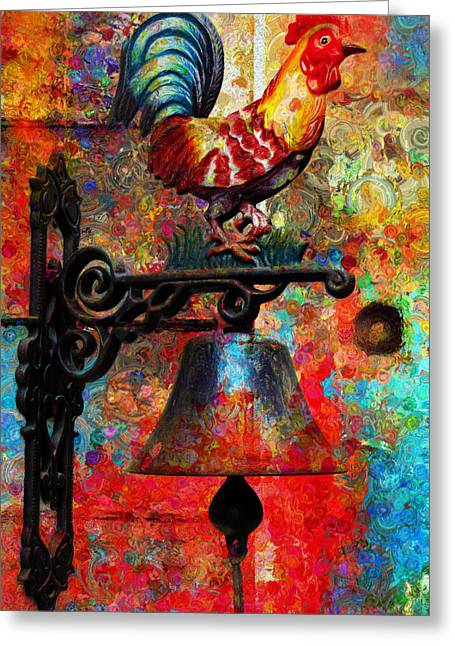Rooster On The Door Whimsy Greeting Card by Georgiana Romanovna