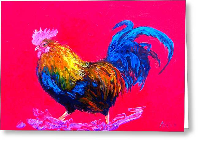 Colorful Rooster Greeting Cards - Rooster painting for Rustic Home Decor Greeting Card by Jan Matson