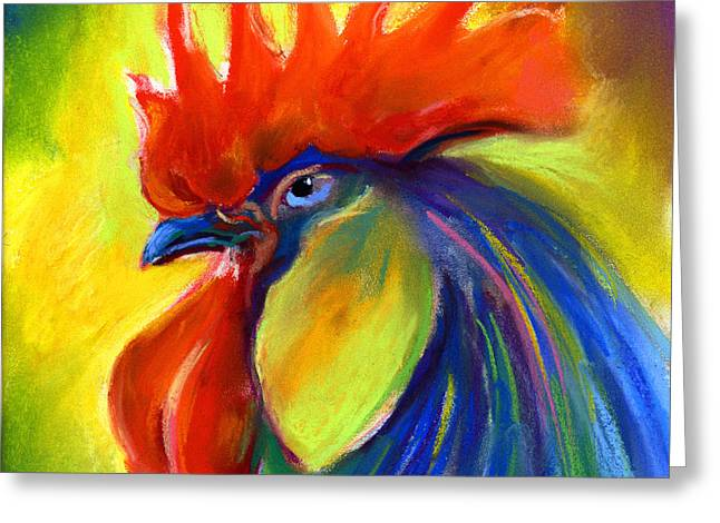 Farm Animals Pastels Greeting Cards - Rooster painting Greeting Card by Svetlana Novikova