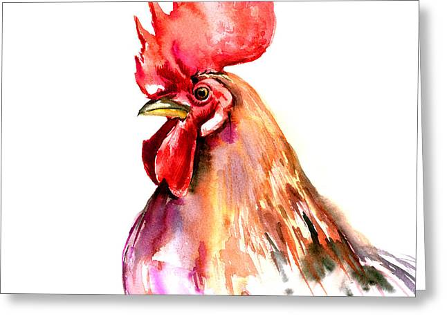 Rooster Portrait Greeting Card by Suren Nersisyan