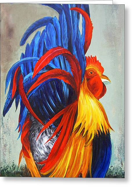 Dominica Alcantara Greeting Cards - Rooster Showing Off Greeting Card by Dominica Alcantara