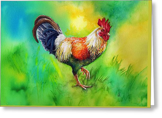 Bright Color Rooster Greeting Cards - Rooster Strut Greeting Card by Sherry Cummings