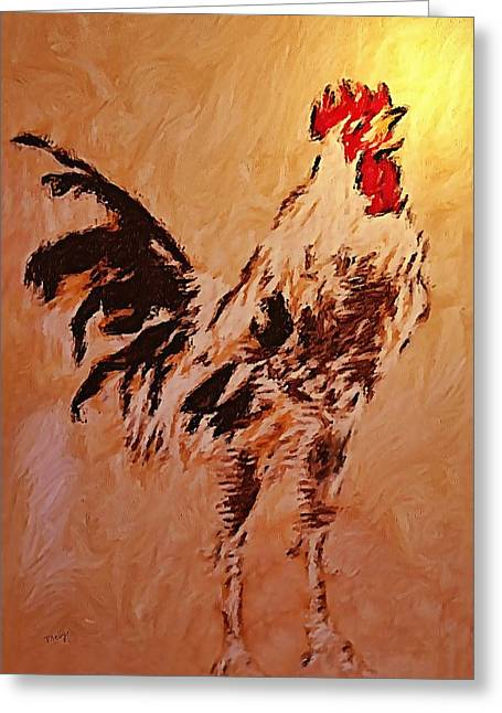 Kelly Greeting Cards - Rooster Greeting Card by Valerie Anne Kelly