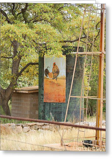 Rooster Water Tank Greeting Card by Donna Greene