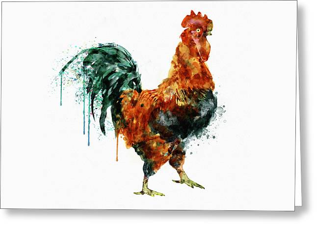 Rooster Watercolor Painting Greeting Card by Marian Voicu