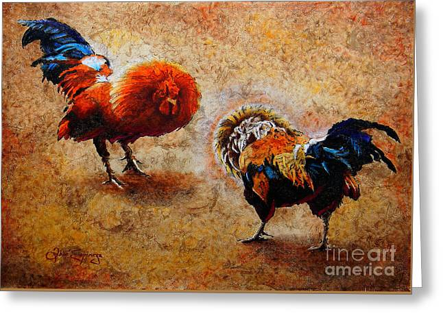 Tree Bark Greeting Cards - Roosters  Scene Greeting Card by Jose Espinoza