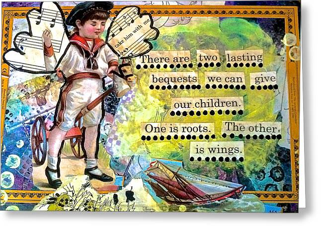Lessons Mixed Media Greeting Cards - Roots and Wings Greeting Card by Kathy Donner Parara