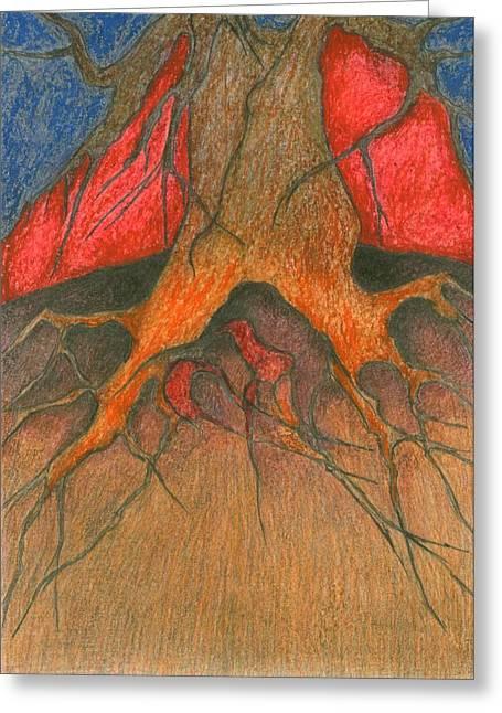Vivid Colour Pastels Greeting Cards - Roots Greeting Card by Wojtek Kowalski
