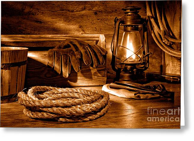 Rope And Tools In A Barn - Sepia Greeting Card by Olivier Le Queinec