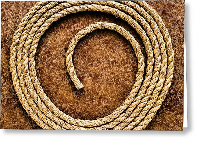 Steer Greeting Cards - Rope on Leather Greeting Card by Olivier Le Queinec