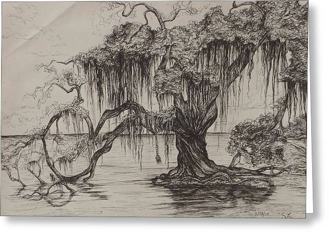 Tree Roots Drawings Greeting Cards - Rope Swing Greeting Card by Sarah Lonthier