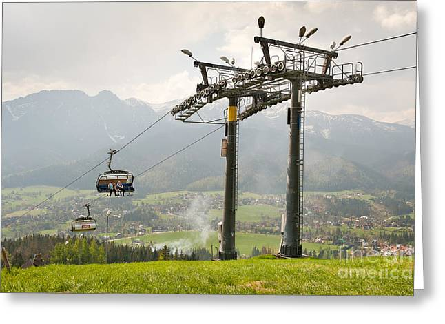 Ropeway High Chairlift Tourist Attraction Greeting Card by Arletta Cwalina