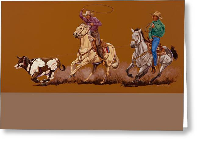 Dogie Greeting Cards - Ropin Pardners Greeting Card by Hugh Blanding