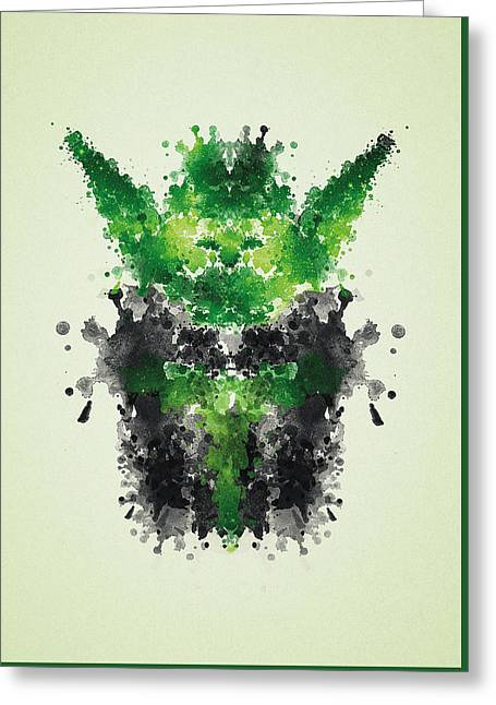 Psychology Drawings Greeting Cards - Rorschach Yoda Greeting Card by Philipp Rietz