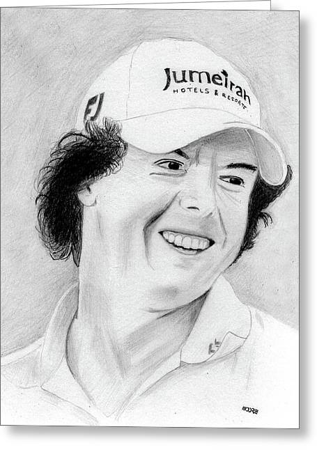 Champ Drawings Greeting Cards - Rory McIlroy Greeting Card by Pat Moore
